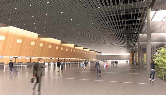 O novo terminal vai oferecer grandes espaços abertos, com ambiente confortável e cores acolhedoras (Foto: Divulgação)